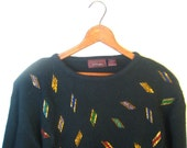 RESERVED for Beata SALE..Vintage Flashy Black Beaded 80's Sweater