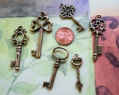 Set of 6 Antique Brass Keys