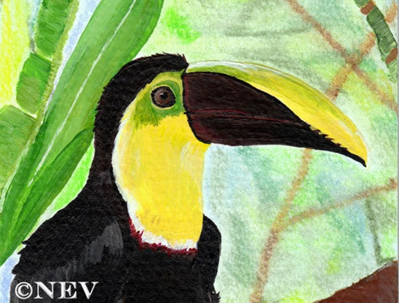 Tropical Toucan Painting Original Bird Art Rainforest Jungle 4x6 Mixed Media
