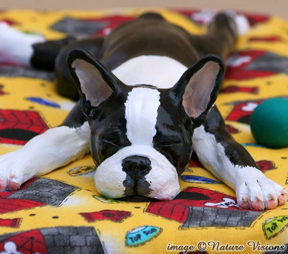 Boston Terrier Art Figurine Polymer Clay Dog Sculpture Sleepy Pup Henry