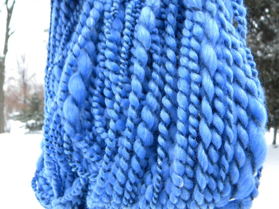 "Bulky handspun yarn 96 yards merino, silk, alpaca, ""Moody Blue"""