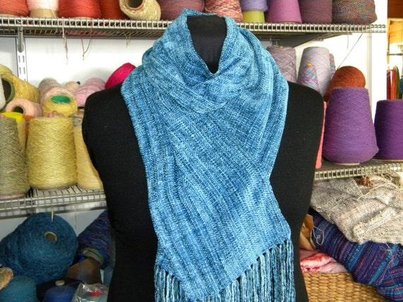 Handwoven chenille scarf smokey blue