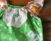 Flutterby top - Vintage Green and Orange Fabric Girls top  - 2-4 years