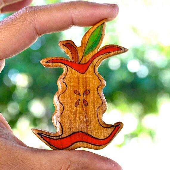 Illustrated Apple Core Wood Brooch - Repurposed Reclaimed