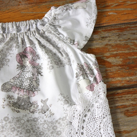 Flutterby top - Vintage Pink Holly Hobbie Girls top  - 2-4 years