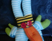 Blue Green Yellow Striped Sock Monster