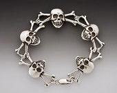 Skull Bracelet Silver - Skull and Crossbone Bracelet - Skull Jewelry - Skull and Crossbone Jewelry - Gothic Jewelry Biker Jewelry Pirate