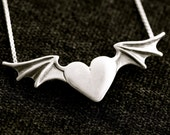 Heart Necklace - Winged Heart Necklace Heart Charm Heart Pendant - Heart with Wings Flying Heart Gift for Her Wing Charm Wing Necklace Gift