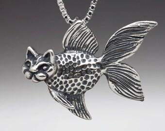 Fish Necklace Silver - Catfish Charm Catfish Pendant - Fish Charm Fish Pendant Fish Jewelry - Silly Silver Fish - Cat Necklace Cat Jewelry