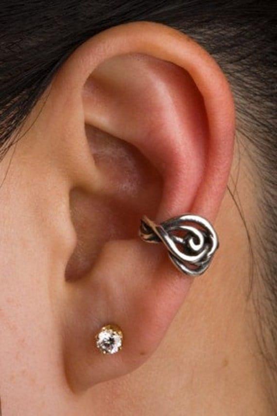 Silver Ear Cuff Swirl Ear Cuff Twisted Ear Cuff Spiral Ear Cuff Spiral Earring Swirl Earring Spiral Jewelry Non-Pierced Earring Celtic