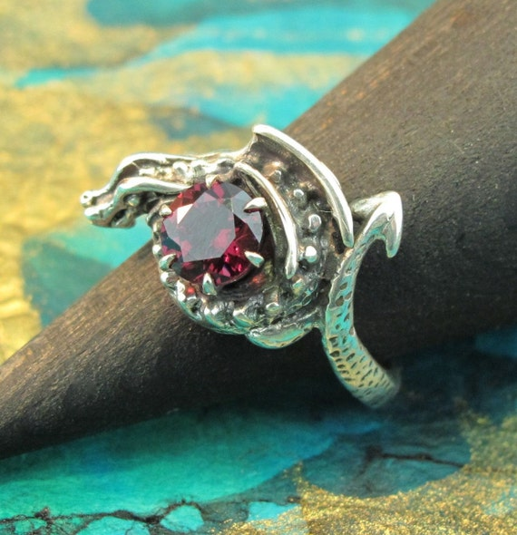 Silver Dragon Ring - Game of Thrones Inspired Jewelry - Curled Dragon Ring with Gemstone - Sterling Silver Dragon Jewelry