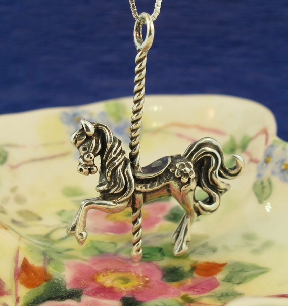 Carousel Horse Necklace Silver - Carousel Horse Charm Carousel Horse Jewelry - Children's Toy Necklace - Silver Horse Necklace - Carnival