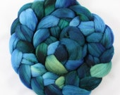 Summer Lake - 4 oz Handpainted Merino Wool Top Roving