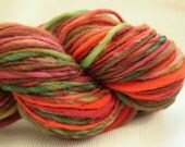 Technicolor Watermelon - 150 yds handspun handdyed bulky thick and thin