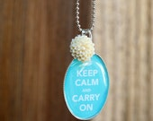 Keep Calm and Carry On Sweet Little Charm Necklace - Turquoise