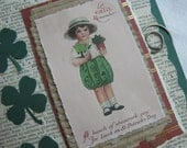 Upcycled Vintage Dictionary Page with Green Shamrocks St Patricks Day Card