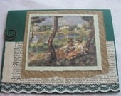 Handmade Card Renoir Print over Vintage Dictionary Page and Lace Ivory and Green Reusable Card