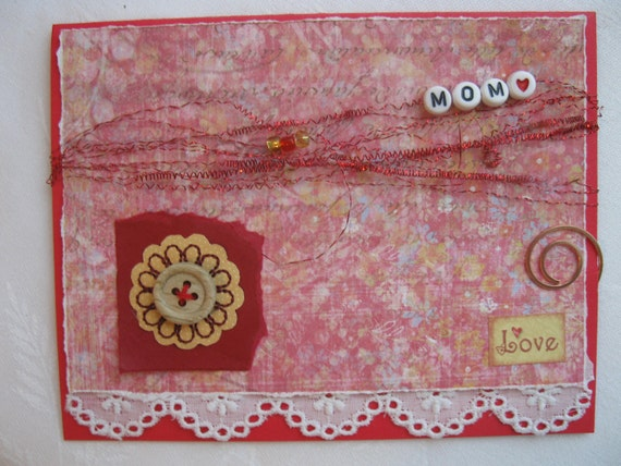 Happy Birthday Mom Handmade Card Red