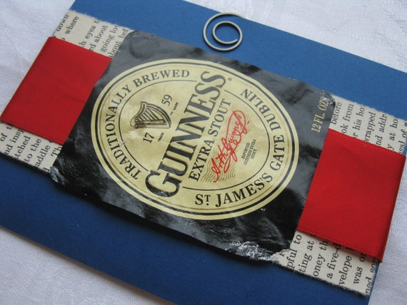 Guinness is Good For You  Really Really Good For You Handmade Card Blue and Red