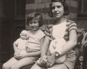 Girls with dolls - Vintage photo photograph