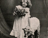 Mary and the lamb - Vintage antique real photo photograph postcard