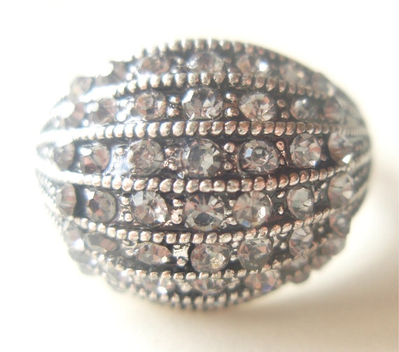 Pave Stacked Crystals - Vintage Cocktail Ring - Diamond Glass