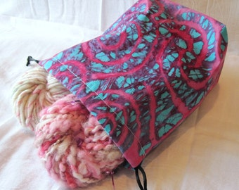 Pink & Teal Batik Knitting Project Bag