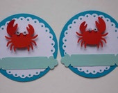 SUMMER CRAB - Set of 2 embellishments or tags for scrapbooking, card making, gifts