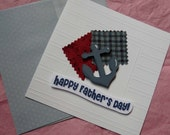 HAPPY FATHER'S DAY - Handmade nautical greeting card with wood anchor