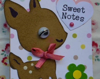 SWEET NOTES - Tiny notepad / notebook with sweet little deer / fawn