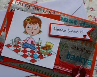HAPPY SUMMER - Handmade blank greeting card with sweet girl