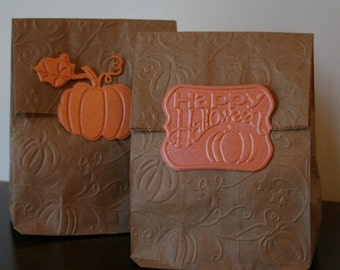 Halloween pumpkin or fall harvest treat bags pumpkin party