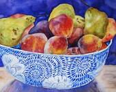 Original Watercolor, Still Life, Fruit, Blue, Large Painting