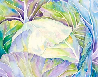 Watercolor Painting, Giclee print, Limited Edition Print 5/100, cabbage