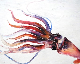 A Squid - Original Oil and Watercolor Painting