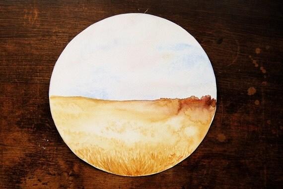 Watercolor Painting, Original Landscape, Yellow, Circular