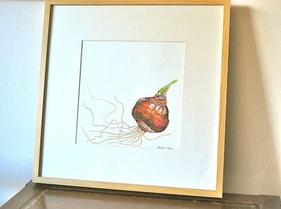 Paperwhite Bulb - Original Watercolor Framed