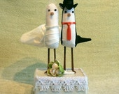 Fabric Bride and Groom BIRD CAKE TOPPER with square stand