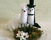 Vintage Style Bird Cake Topper - Fabric Birds on flat nest stand - Wedding Cake Topper