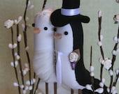 Bird Cake Topper - Wedding Cake Topper - Custom Made fabric Birds with trellis style stand