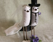 Bride and Groom Bird Cake Topper - Custom Made Wedding Cake Topper