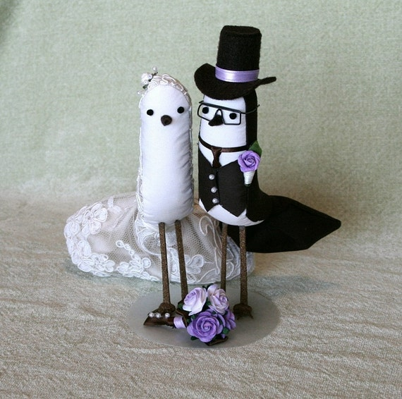 Wedding Cake Topper - Bride and Groom Birds in elegant alencon fabric