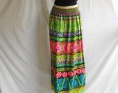 Vintage Tropical Skirt/Dress Hawaiian Strapless Bright Summer Convertible Striped Bright Pink Lime Green