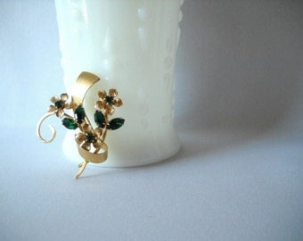 Vintage Brooch Green Rhinestone Pin Flower Brooch