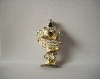 Vintage Brooch Teddy Bear Pin Sparkly Party Pin Holiday Jewelry  New Years Eve