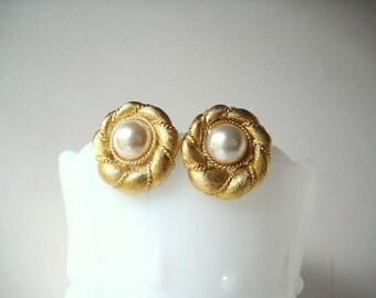 Vintage Earrings Napier Earrings Faux Pearl  Earrings Pierced Earrings Goldtone Earrings