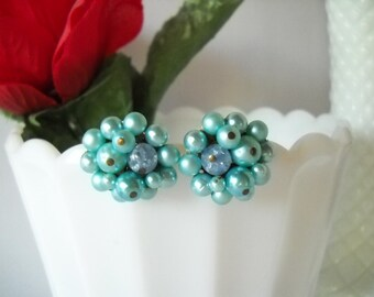 Vintage Earrings Aqua Blue Faux Pearl Clip On Earrings Mad Men Jackie O