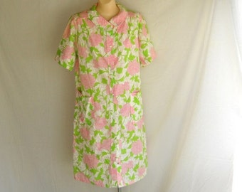 Vintage Robe Pink and Green Robe JC Penney Robe Loungewear Lingerie Short Sleeves Floral Flower Summer Robe Beach Coverup