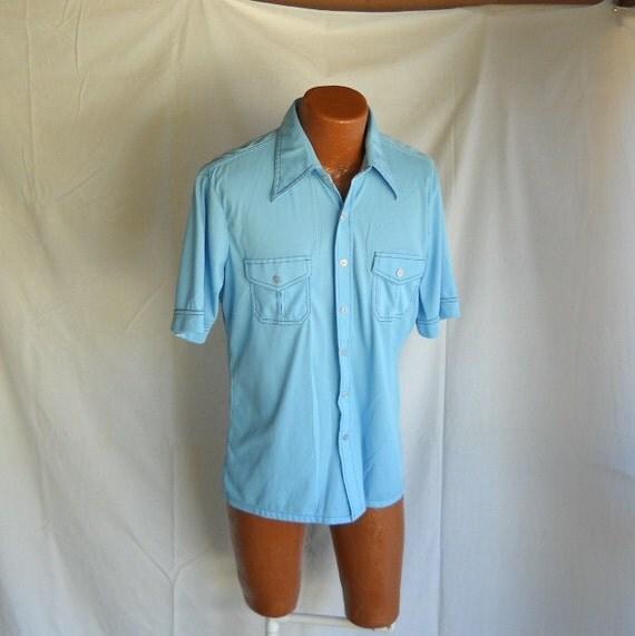 Vintage Shirt Men's Shirt Blue Men's Shirt Short Sleeve Shirt Polyester Shirt
