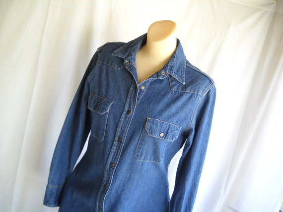 Vintage Dress Calvin Klein Dress Vintage Denim Dress Shirt Dress Coat Blue Tailored Designer Dress